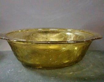 Vintage golden amber 9 1/2 inch  serving bowl.  Madrid Pattern.