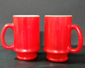 Hazel Atlas Red Milk Glass  coffee mugs. Set of 2
