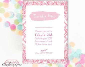 Birthday Party Invitation - Digital Download - Printable Invites - Personalised - 18th - 21st - 30th - 50th - 60th