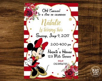 Minnie Mouse Invitation - Minnie Mouse Invitation Red - Red  Minnie Mouse Birthday Party Invitation. Digital File.