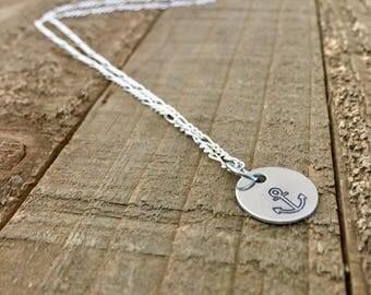 "Anchor necklace-1/2"" handstamped necklace-gift"