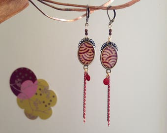 Red and Golden Japanese paper earrings.