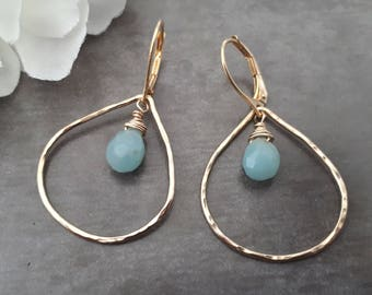Gold tear drop earrings, large gold teardrop earrings, amazonite earrings, amazonite jewelry, large hoop earrings, tear drop hoops gold