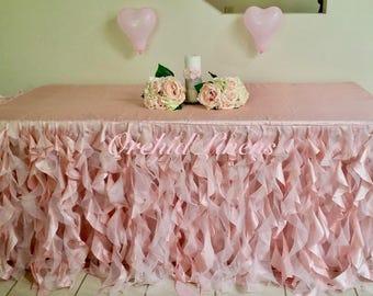 Lavish Curly Willow Ruffled Ruffles Organza Table Skirt