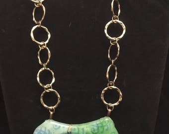Fused Glass Necklace with Recycled Chain