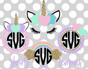 UNICORN svg, unicorn monogram svg, monogram bundle, svg, dxf, eps, rainbow svg, heart svg, birthday svg, cutter files, shortsandlemons, girl