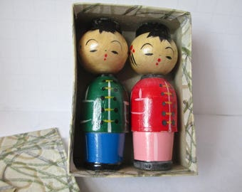 Small Wooden Dolls Made in Japan Vintage