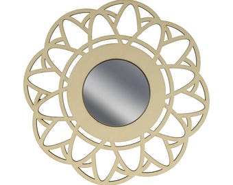 Mirror Lacy 14002452 wooden flower - wooden stand - wood frame-