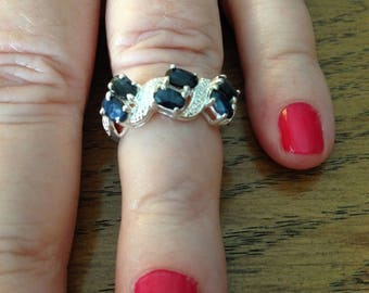 Sterling Silver and Sapphire Ring Size 6