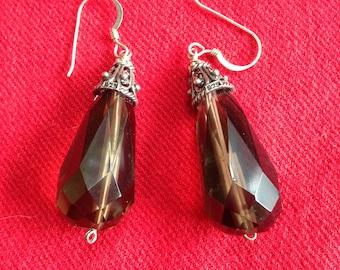 Sterling Silver Smoky Topaz Drop Earrings