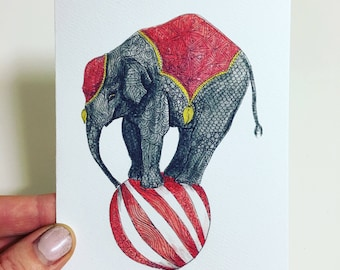 Carnival Elephant Greeting Card