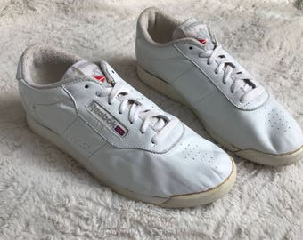 Vintage Reebok Classics Women's 9 (UK 7) 1990s Princess White Leather