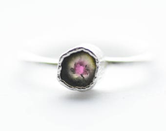READY to SHIP.US Size 5.25. Silver Electroformed Pink Watermelon Tourmaline Ring. Tourmaline Ring. Electroformed Ring. Unique Rings for Her.