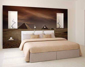 Wall Mural Desert, Pyramids Wallpaper, Camels Wall Mural, Wall Decal Desert