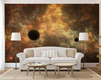 Wall Mural Planets, Wall Mural Of The Galaxy, Space Wall Mural, Space Wallpaper, Galaxy Wall Decal