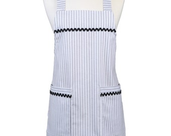 Japanese Crossover Farmhouse Black and White Ticking Canvas Retro Pinafore Crossover Womens Kitchen Apron with Pockets