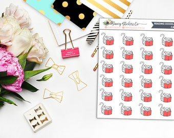 Doodle Reading Cat Planner Stickers | for use with Erin Condren Lifeplanner™, Happy Planner