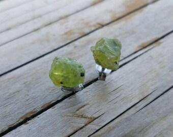 Genuine Raw Peridot Lime Green gemstone surgical steel stud earrings - Heart and Mind