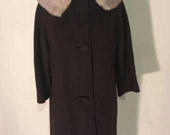 Vintage coat, chocolate brown, w/ fur  ollar