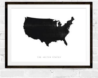 Black And White Map Etsy - Usa map black
