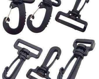 """10 Pcs 3/4"""" 1"""" 1.25"""" 1.5"""" 18mm 25mm 32mm 38mm Plastic Hook Rocker Swivel Strap Webbing J Buckles"""