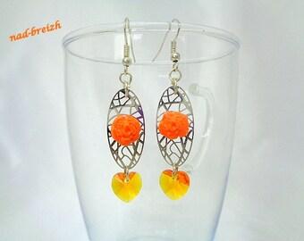 "Earrings Fimo clay polymer ""Small Pink Orange on connector filigree silver + Swarovski Orange"" - handmade"