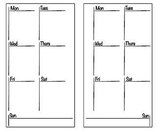 Printable** Week on 1 Page Personal Size Insert