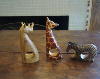 Hand Carved Wood African Safari Animal Napkin Holder Rings – Set of 3 – Giraffe, Rhino and Zebra