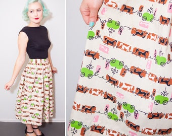 1950's Fairy Tale Novelty Print Horse & Green Apple Carriage Pleated Circle Skirt   Size Small