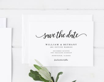 Save the Date, Modern Save the Date, Printable Save the Date, Save the Date Card, Minimalist Save the Date, Calligraphy Save the Date
