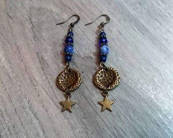 "Semi precious ""Blue Star"" - lapis lazuli - sodalite - Swarovski Crystal Pearl dangle earrings"
