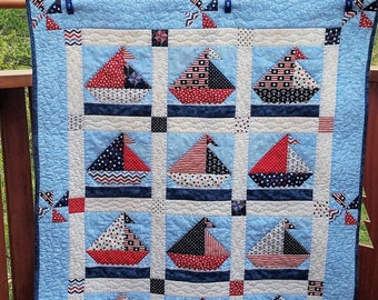Sailboat Baby Quilt/Nautical Baby Quilt/Crib Quilt/Red White and Blue Crib Quilt