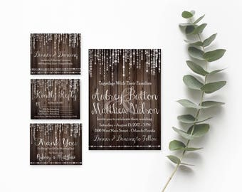 Rustic Wood Invitations- Rustic Wedding Suite- DIY Invitation Suite-Rustic Wood Invite-Rustic Wedding Invitations-Country Wedding Invitation