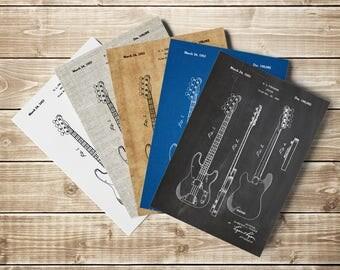 Precision Bass, Fender Guitar Art, Fender Bass Decor, Jazz Bass Guitar, Fender Wall Art, Bass Blueprint, Fender Wall Decor, INSTANT DOWNLOAD