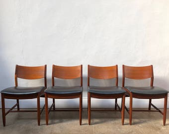Vintage Set of 4 White & Newton Dining Chairs. Retro Danish Mid Century G Plan
