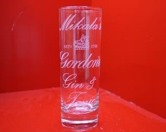 Laser Engraved Personalised Names Gordan's Gin & Tonic Highball Glass