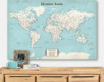 Pin world map etsy unique push pin world map customized push pin map travel decor cool pinboard wedding gift for gumiabroncs Gallery