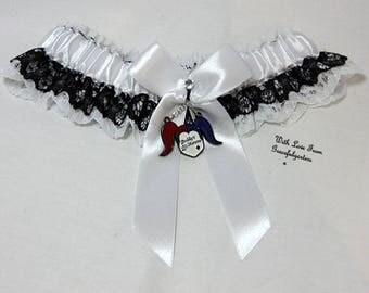 Handmade Lace harley quinn  keepsake Bridal Wedding Garter. Satin/Lace