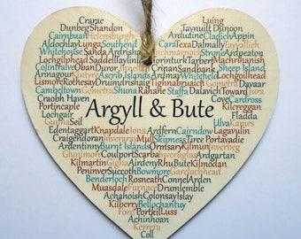 Argyll & Bute Heart Decoration, Scotland, Argyll, Argyll and Bute, Scotland, West Coast Scotland, Claire Kirkpatrick Word Art