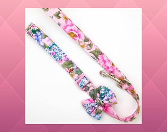 Pink Patchwork Flowers & Bow Dog or Puppy Leash