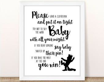 """Where the Wild Things Are Baby Shower Clothespin Game. 8"""" x 10"""". Printable. INSTANT DOWNLOAD."""