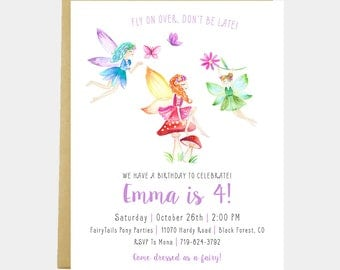 Fairy Birthday Party Invitation, Girl Fairy Birthday Invitation, Pink Purple Girl Fairy Birthday, Watercolor Toadstool, Printable or Printed