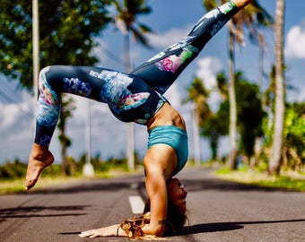 Indigo Magic Blue Crystal Yoga leggings (Blue/Orange)