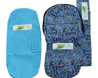 Combo - Nephrostomy Outer Bag Cover, Tube Covering Blue/Green Swirl and Leg Bag