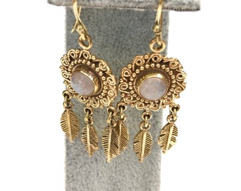 Moonstone earrings, brass feather earrings, Gypsy earrings, boho earrings,  gold earrings, Ethnic Jewelry, Indian jewellery