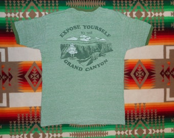 70s Expose Yourself To The Grand Canyon Heather Green Ringer T Shirt Size M