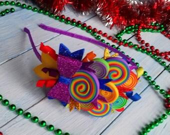 Rainbow Headband Baby Headband Candy Headband Girls Headband Toddler Headpiece Rainbow Hair Piece Rainbow Vine Rainbow Baby Shower Headband
