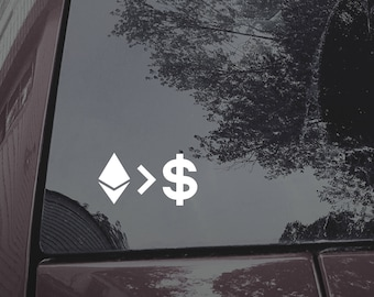 Ethereum greater than Money decal