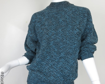 80s Blue Black Woven Sweater by Design Studio Size XLarge