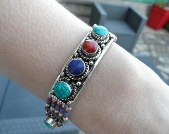 Bracelet ethnic Lapis Lazuli stone / turquoise / coral